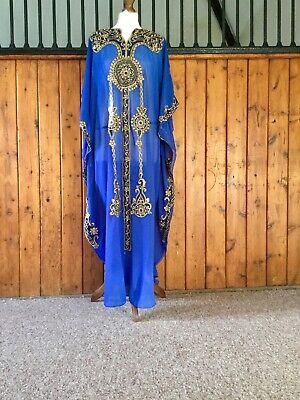 Arabian kaftan Abaya royal blue lace maxi dress plus size Eid S to XXXL