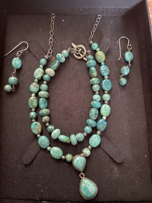 Barse sterling silver necklace bracelet and earring set sterling silver turquois