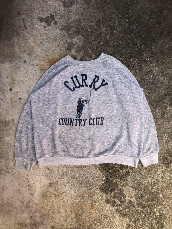 "Vintage 1980s Heather Grey ""Curry Country Club"" Raglan Sweatshirt"