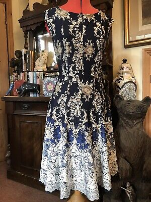 NAVY FLARED DRESS 12 LACE PRINT JULIAN TAYLOR CLASSIC BLUE WHITE OCCASION