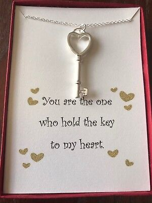 Sterling silver Key To My heart necklace w/ love poem. - Key My Heart