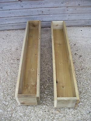 2 x Tanalised Wooden Garden Planter, Wood Window Box, Patio Planter