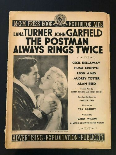 """The Postman Always Rings Twice Movie Pressbook (1946) - 16 Pages 11"""" x 15"""" VG"""