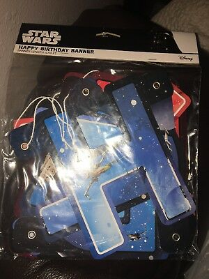 STAR WARS Happy Birthday Banner Hanging 6.59 ft Jointed Party Supply Disney - Star Wars Birthday Banner