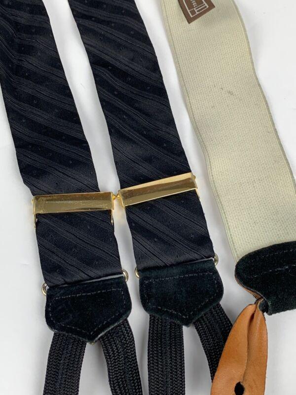 Trafalgar Black Silk Formal Suspenders/Braces Diagonal Stripes & Dots Velvet End