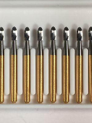 T F 9404 Egg Gold Fine Polishing Burs 30 Blade Carbide 10pk Made In The Usa