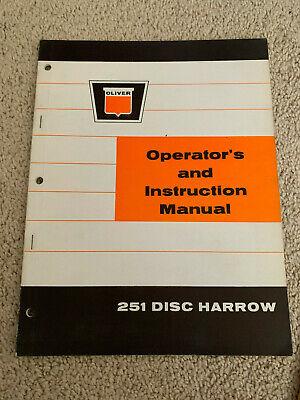 Oliver Operators Instruction Manual 251 Disc Harrow