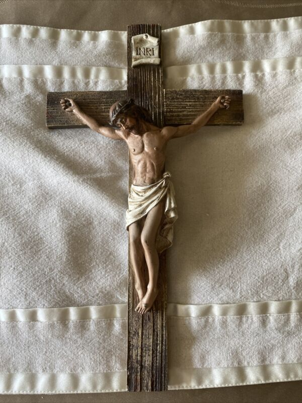 Jesus Nailed On The Cross Resin Wall Crucifix, INRI 14 Inch