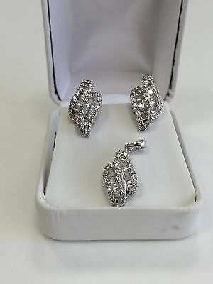2.17 ctw Genuine Baguette Round Diamonds Earrings & Pendant Set 18k White Gold