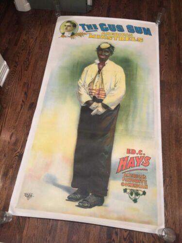 ORIGINAL EARLY 1900s BLACK AMERICANA POSTER GUS SUN AMERICAN MINSTRELS ON LINEN