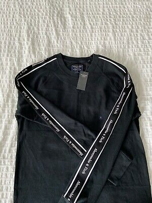 NWT Abercrombie & Fitch Men's Logo  Long-Sleeve Tee Shirt Black  Size S