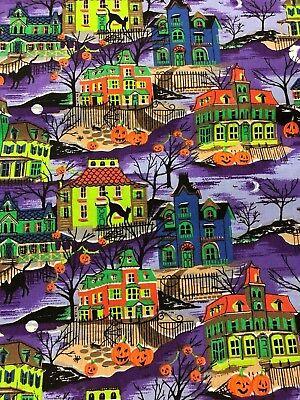 Halloween Victorian Haunted House Houses Pumpkins Cats Purple Sky Fabric BTHY](Purple Halloween Pumpkins)