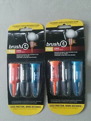 Brush T Pro Golf Tees  Wood Driver Oversized Low Friction Lot of 2