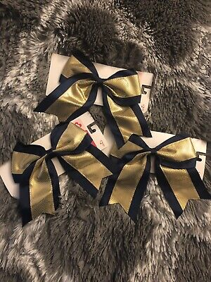 NEW! Jumbo Oversize Blue And Gold Cheer Bows Elastic Ponytail Holder - Pack Of 3 ()
