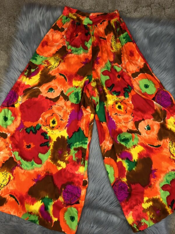 Vintage Handmade Womens 60s 70s Palazzo Wide Leg Bright Multicolored Pants