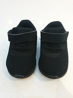Infant Nike Trainers Size 3.5, Black With Velcro And Elastic Laces