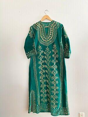 1970's Emerald Green Velvet Kaftan | Vintage Gold Embroidered Kaftan Tunic Maxi
