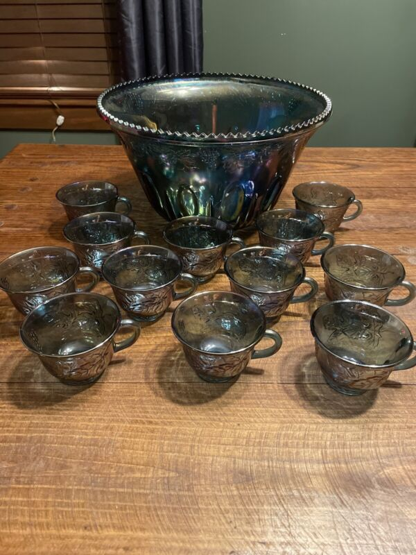 Indiana Harvest Grape Style Carnival Glass Punch Bowl Set 12 cups
