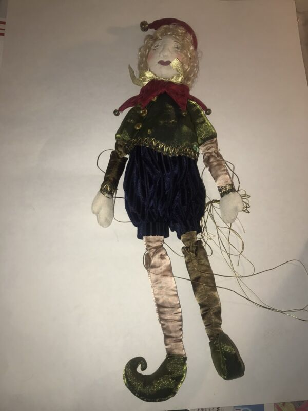"Mark Roberts Collection Jester Marionette Doll-Cloth Face-24"" tall"