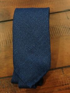 NWT Drakes Blue Unlined Textured Wool/Silk/Linen Tie $185 Handmade in London UK