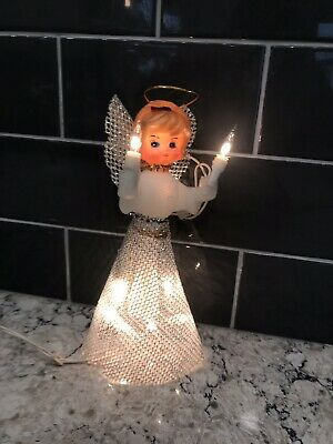 Vintage Light Up Angel Tree Topper, Plastic Head, Works, Holding Candles, ()