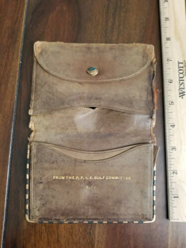 1915 PPIE San Francisco California Golf Committee Leather Wallet / Billfold