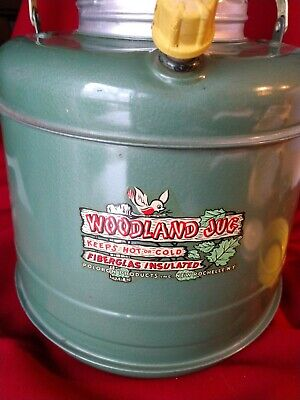 Woodland Jug 1960's Poloron Ind Vintage Thermos Scouts Camping Cooler Hot in Box