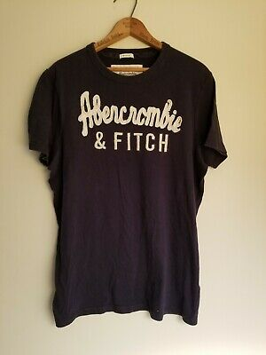 Abercrombie & Fitch A&F Muscle Embroidered Logo Tee T SHIRT Men's XL Navy White