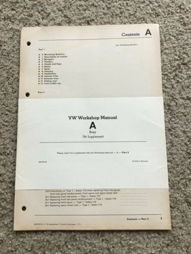 1971 VW Workshop manual A body 7th. Supplement incert.