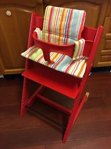 Stokke red Tripp trapp chair baby high chair with cushion