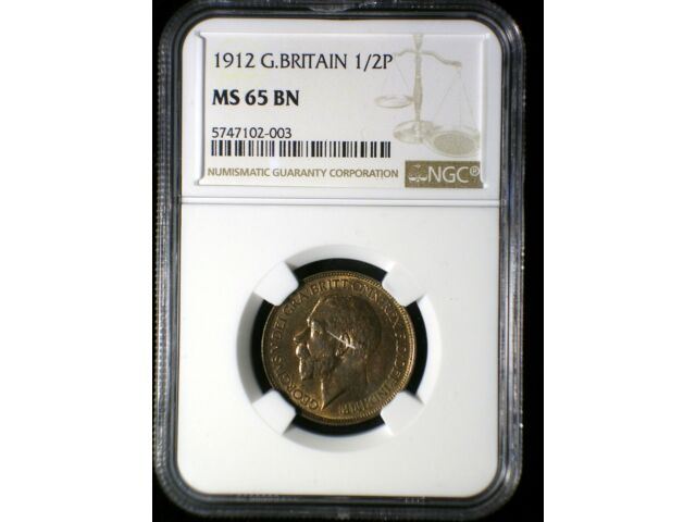 Great Britain 1912 1/2 Penny *NGC MS-65* >Tops Pops< Highest Graded Known