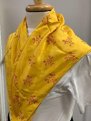 """18th Century 100% Silk, Hand Blocked & Printed Yellow Neckerchief 33"""" X 33"""" NEW"""