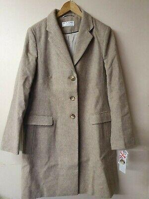 HELENE BERMAN Wool Rich Button Front College Coat-Oatmeal  Size UK18