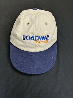 Vtg 80s ROADWAY Express Trucking Freight Hat Cap Strap back Made in USA