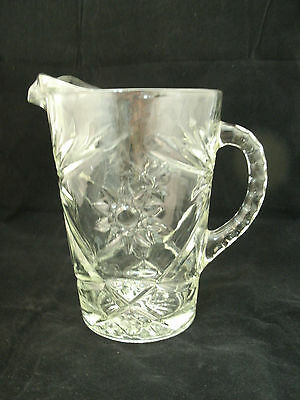 "Vintage Anchor Hocking EARLY AMERICAN PRESCUT Clear 54 oz 8"" Pitcher EAPG Star  for sale  Painesville"