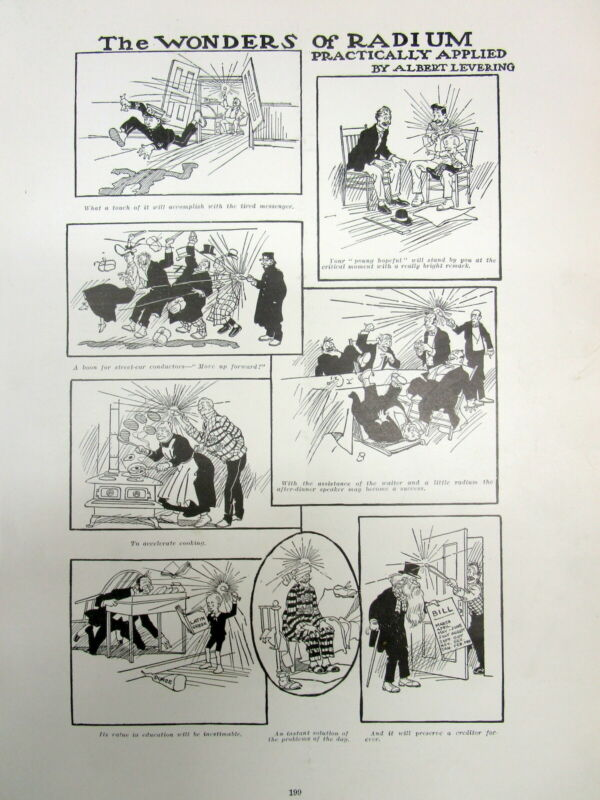 1904 Illustrated newspaper w chart of projected uses of newly discovered RADIUM