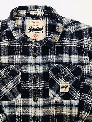 VTG Superdry Super Dry Denim JPN Mens XL Flannel Shirt Elbow Patch Blue Top EUC!