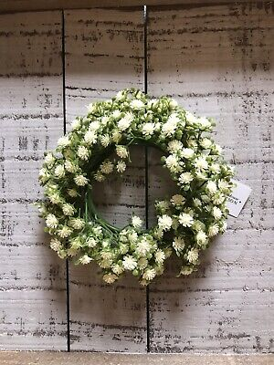 Mini White Flower Candle Ring/Small Wreath Cottage Farmhouse Wedding Country - Mini Wreaths