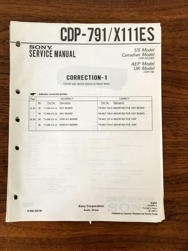 Sony CDP-790  Service Manual *Original*