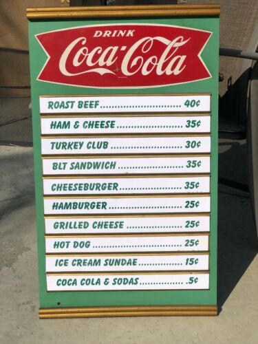 1959  COCA COLA MENU BOARD W/ STRIPES.  METAL AND MASONITE  EXCELLENT CONDITION