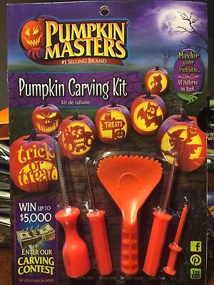PUMPKIN MASTERS CARVING KIT Includes Scoop, 3 Saws, Drill, 10 Pattern Halloween - Halloween 3 Drill