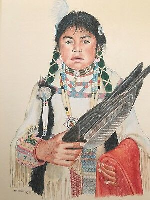 "M P SHANE Native American ARTIST PEN/COLORED PENCIL 91 MATTED 24.5"" X 19.5"""