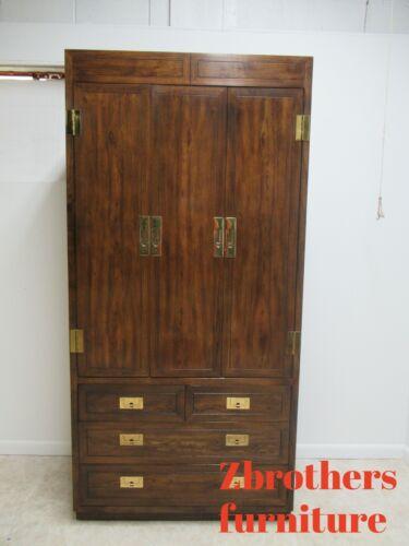 Henredon Oak Campaign Scene One Armoire Wardrobe Dresser Cabinet A