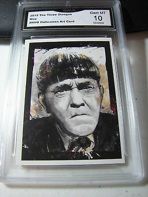 MOE HOWARD 2015 CHRONICLES OF THE THREE 3 STOOGES HALLOWEEN ART GRADED 10 A - Three Stooges Halloween