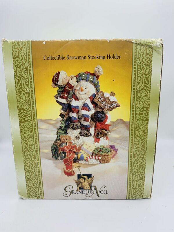 Grandeur Noel Christmas Collectible Snowman Stocking Holder MIB