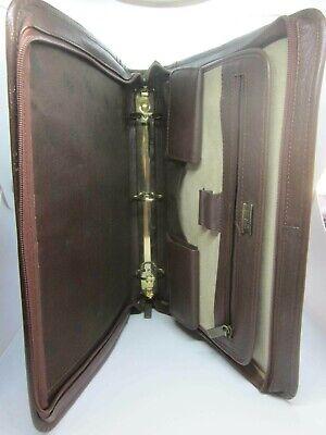 Vintage Bill Blass Leather Portfolio Attache Zipper Notebook Monarch Luggage Tag