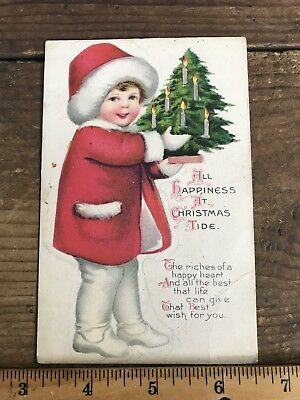 Christmas Postcard Antique Winter Holiday Themed Santa Family Trees](Winter Holiday Themes)