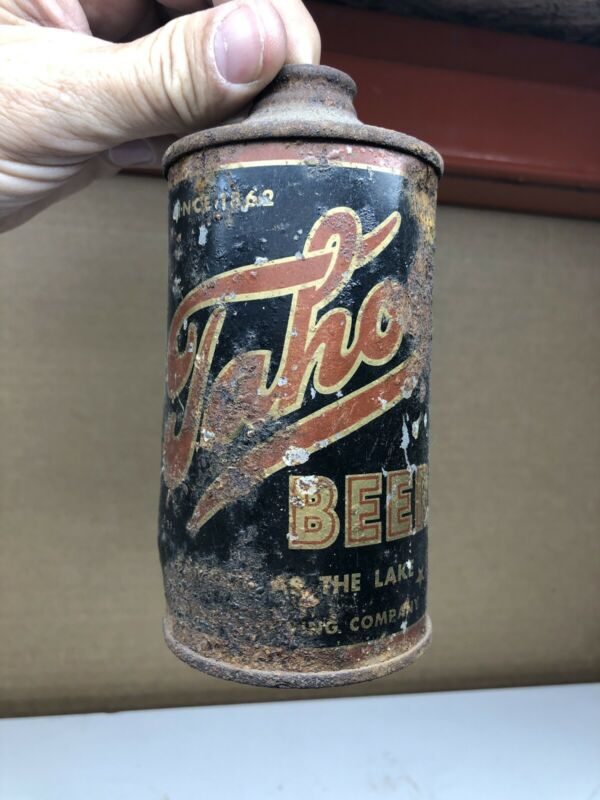 (Uncleaned) Tahoe Beer Cone Top Can 1938 CARSON CITY NV.