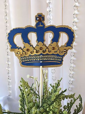 Royal Crown/ Royal Blue and gold Crown/ Centerpieces stick/ Royal blue and - Gold And Royal Blue