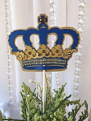 Royal Crown/ Royal Blue and gold Crown/ Centerpieces stick/ Royal blue and gold - Gold And Royal Blue